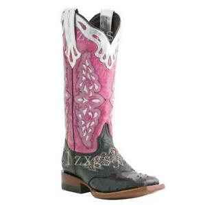 Womens Cuban Heel Western Embroidery Knight Boots Cowboy Pu Leather Square Hong2