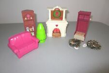 Fisher Price Dollhouse Furniture Fireplace Sounds Light Up Wreath  Tree  Lot F2
