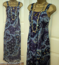 M&S INDIGO COLLECTION PURPLE WHITE FLORAL CHIFFON MAXI SUMMER DRESS 6-20 RRP £45