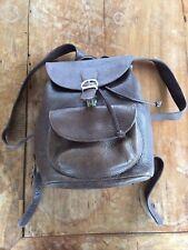 Eddie Bauer vintage heavy grained leather backpack bag dark brown clean! EUC