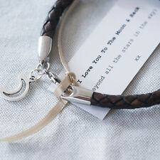 Brown Leather 'I Love You To The Moon & Back'  Wristband, Romantic Gifts (28C4)