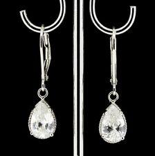 Sterling Silver 925 Pear Shape Tear Drop CZ Leverback Drop Earrings RRP $90