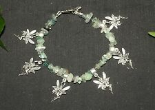 Magical Fairy & Fluorite Gemstone Charm Bracelet - Pagan, Witchcraft, Wicca