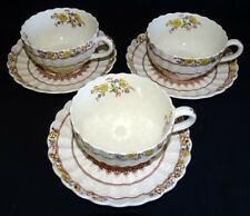 Spode Copeland England Buttercup Set of 3 Cups & Saucers- Old Mark