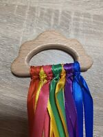 Cloud Shaped Rainbow Wooden Sensory Ribbon Ring Toy Baby Shower Gift Girl Boy