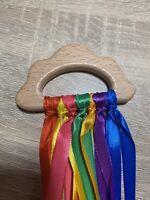 Cloud Shaped Rainbow Wooden Sensory Ribbon Ring Toy Baby Shower Gift Girl Boy