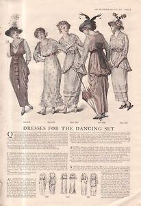 1914 Original Delineator Fashion Print - Dancing dresses