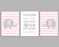Pink & Grey Elephant Family / Baby Girl / First We Had Each Other