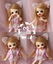 "3-4"" 9-10cm BJD fabric fur wig Flaxen for AE PukiFee lati 1/12 Doll"