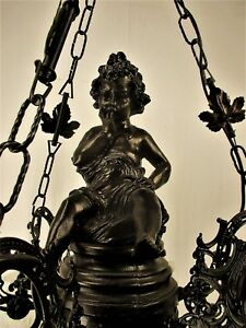 French Chandelier 6 Lights Arms Tulip Shades Putti Cherub Resin Gorgeous