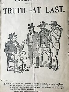"""Early 1900s(?) Tory Leaflet """"Chinese Labour. Truth - At Last"""". South African int"""