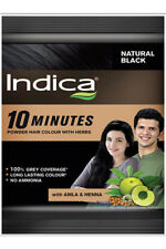 INDICA Herbal Hair Colour - 10 Minutes With Amla & Henna NATURAL BLACK  10 grams