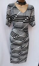 M&S Colección Geo impresión Jersey Forro De Soporte Secreto Oficina Cóctel Vestido 20UK
