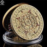 Goldene Medaille Münze Color Farbig Maya Kalender Azteken Sonnenscheibe
