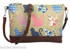 Cat Crossbody Bag Beige Shoulder Bag Blue Pink Cats Small Acrossbody Handbag