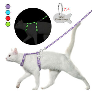 Reflective Cat Harness&Leash&Personalized ID Tag Escape Proof Small Puppy Vest