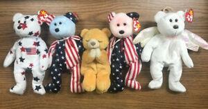 TY BEANIE BABIES: Spangle Pink Face Bear/Spangle Blue Face Bear/Glory Bear/Halo