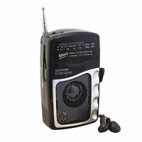AM/FM Portable Battery Pocket Radio & Earphones - Lloytron Entertainer *N2201BK