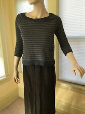 Splendid Sweater size S Gray & Brown Cropped Striped Pullover w Pockets EUC