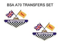 BSA A70 LIGHTNING SIDE PANEL TRANSFERS DECALS MOTORCYCLE SOLD AS A PAIR