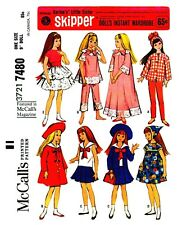Skipper Doll Wardrobe  Vintage McCall's Fabric Material Sewing Pattern #7480