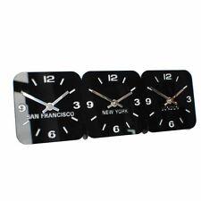 Roco Verre Acrylic Desk Table Time Zone Clock Red, Black.White or silver