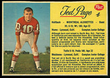 1963 POST CFL FOOTBALL #4 TED PAGE EX-NM MONTREAL ALOUETTES CAMPTON COLLEGE