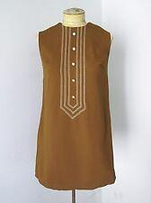 Vtg 60s 70s Caramel Brown Poly Knit Mod GoGo Brady Mini A-Line Trapeze Dress S/M