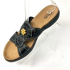 Clarks Leisa Lolly Sandal Size  8 M Blue Slip On Bendable Soft Leather Comfort
