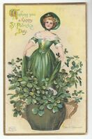 [53887] 1911 ST. PATRICK'S DAY POSTCARD ELLEN CLAPSADDLE SIGNED WOMAN IN POT
