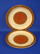 DENBY STONEWARE ENGLAND POTTERS WHEEL RUST RED PAIR DINNER PLATES 10""