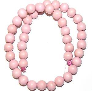 "W222 Light Pink 10mm Round Premium Wood Beads 16"""