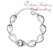 18K White Gold Plated Made With Swarovski Crystal Teardrop Clear Bracelet