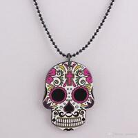 Sugar Skulls Acrylic Necklace, Four Colours Rockabilly Day of the Dead Steampunk