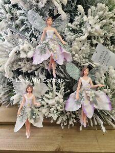 Gisela graham Fairy Christmas Tree Decoration winter flower petal Angel hanging