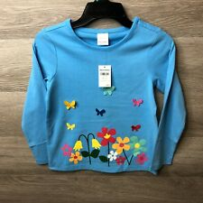 Hanna Andersson Kids Size 6-7 Girls Blue Butterfly Flower Long Sleeve Shirt NEW