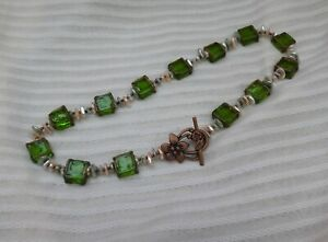 Green Transparent Square Beads and Faux Fresh Water Color Pearls Necklace