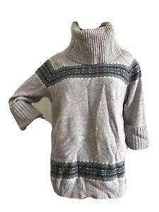Gap Rare Grey Fair Isle 100% Lambs Wool Oversize Jumper XS UK 6-8 EU 34-36 BNWT