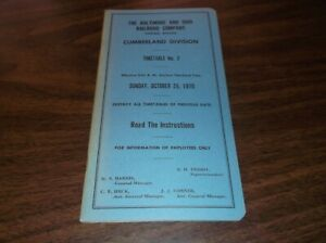 OCTOBER 1970 B&O BALTIMORE & OHIO CUMBERLAND DIVISION EMPLOYEE TIMETABLE #2