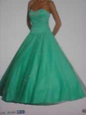 Strapless Aqua Quinceanera Princess Ballroom Prom Gown Dress With Beads