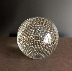 Antique CRYSTAL BALL blown control bubble Newel Finial Pairpoint glass PW
