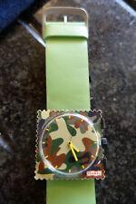 Sellos Reloj Marrón Camuflaje Cara Y Verde Correa De Cuero & Cordón S.T.A.M.P.S.