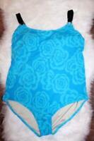 Tropical Escape One Piece Swimsuit Blue Black Floral Size 18W