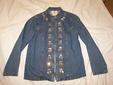 Women's Quacker Factory Denim Jacket with Rhinestone Trim - S