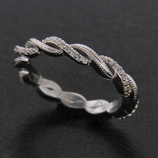 Infinity Band 14k White Gold Over Full Eternity Diamond Twisted Wedding Band