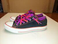 Converse Chuck Taylor All Star Womans Size 10 Low Top Shoes Black Purple Orange