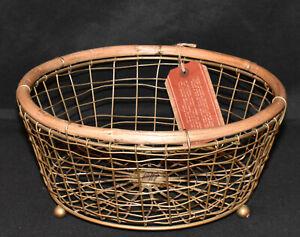 """Vintage Handcrafted Basket Metal & Wood 10"""" Footed Basket Decorative Home Decor"""