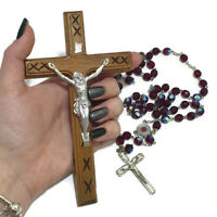 """2 PC Crucifix Cross Olive Wood Jesus Christian Holy Land Hanging Wall """" Necklace"""