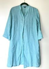 VIVID LINEN Lagenlook Buttondown Tunic Light Blue Sz Small Perfect!
