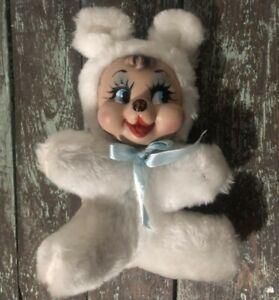 Vintage Rubber faced white bear plush toy